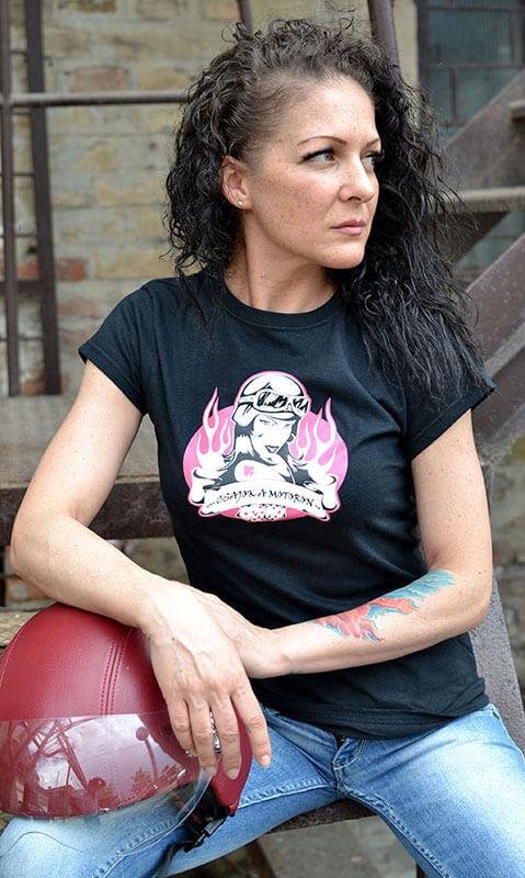 Fekete női motoros póló Csajok a motoron logóval