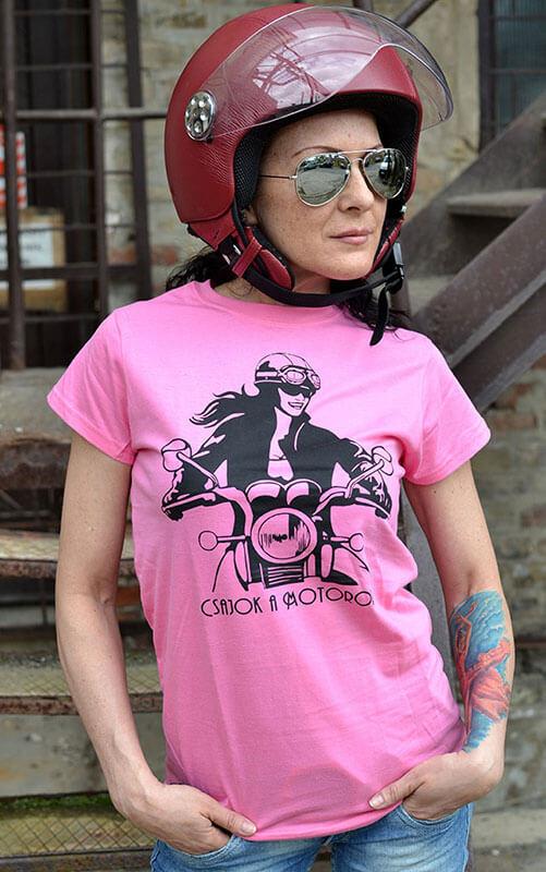 Rózsaszín Csajok a motoron póló motoros csajjal