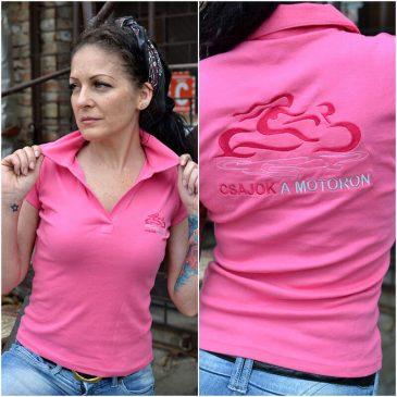 Galléros hímzett csajok a motoron póló nagyon rózsaszín