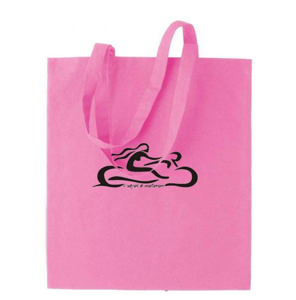 Rózsaszín vászonszatyor csajok a motoron logóval