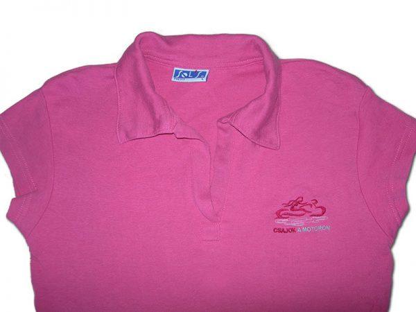 Nagyon rózsaszín galléros Csajok a motoron póló