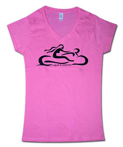 Motoros csajos V-nyakú Csajok a motoron póló, rózsaszín