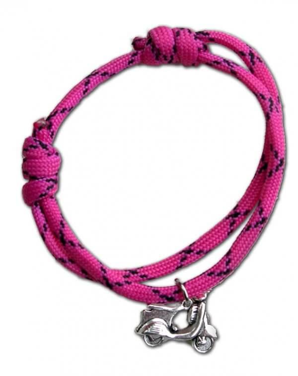 Rózsaszín robogós paracord karkötő