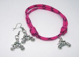 Rózsaszín endurós paracord 550 karkötő-fülbevaló szett