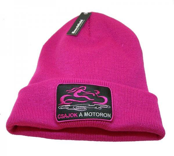 Rózsaszín Cajok a motoron kötött sapka hímzett logóval