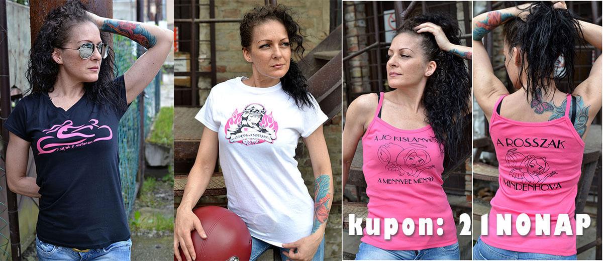 Csajok a motoron nemzetközi nőnap kupon női motoros póló